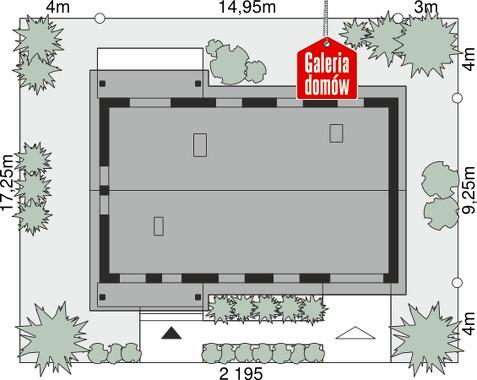 Dom przy Bukowej 19 - wymiary na działce