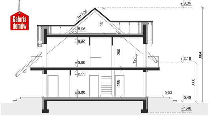 Dom przy Amarantowej 9 dwulokalowy - przekrój