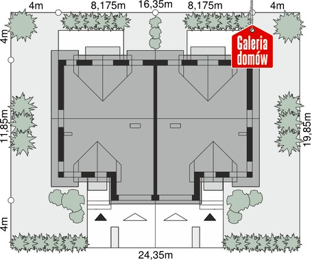 Dom przy Amarantowej 9 dwulokalowy - wymiary na działce