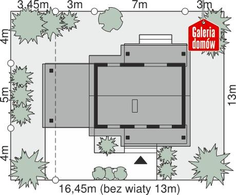 Dom przy Bukowej 35 - wymiary na działce