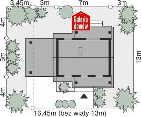 Dom przy Bukowej 35A - wymiary na działce