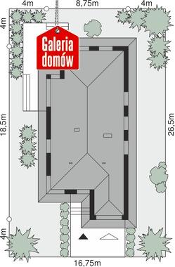 Dom przy Pastelowej 15 bis - wymiary na działce