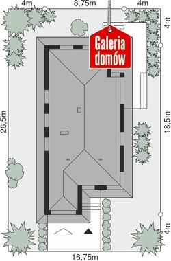 Dom przy Pastelowej 16 - wymiary na działce