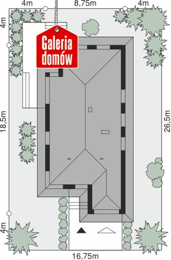Dom przy Pastelowej 16 bis - wymiary na działce