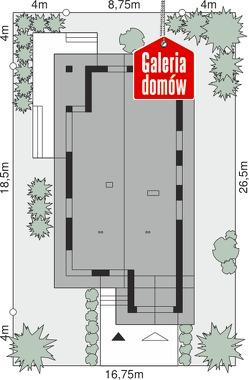 Dom przy Pastelowej 15 D - wymiary na działce