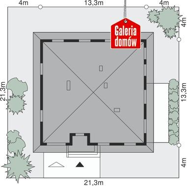 Dom przy Słonecznej - wymiary na działce