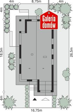Dom przy Pastelowej 15 D bis - wymiary na działce