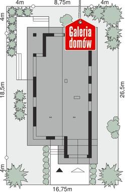 Dom przy Pastelowej 16 D bis - wymiary na działce
