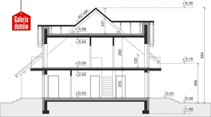 Dom przy Amarantowej 10 dwulokalowy - przekrój