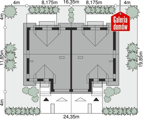 Dom przy Amarantowej 10 dwulokalowy - wymiary na działce