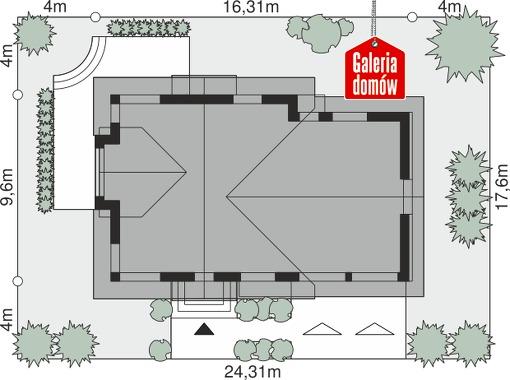Dom przy Cyprysowej 50 - wymiary na działce