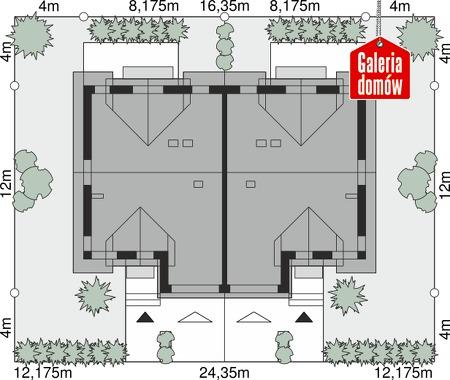 Dom przy Amarantowej 11 dwulokalowy - wymiary na działce