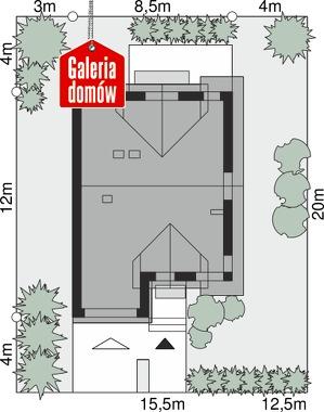 Dom przy Amarantowej 11 - wymiary na działce