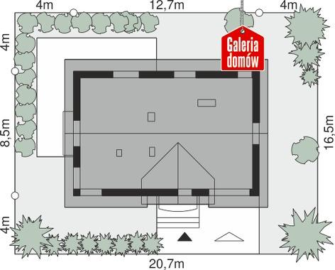Dom przy Alabastrowej 42 - wymiary na działce