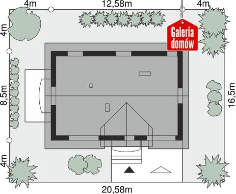 Dom przy Alabastrowej 44 - wymiary na działce