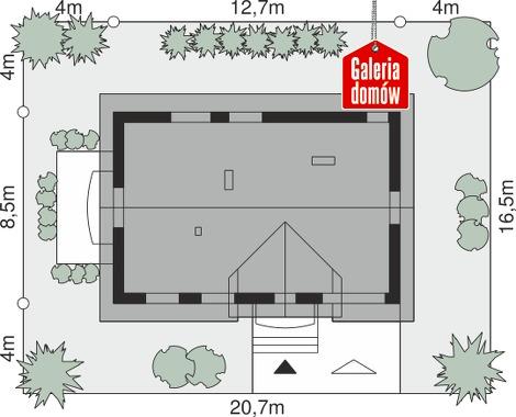 Dom przy Alabastrowej 45 - wymiary na działce