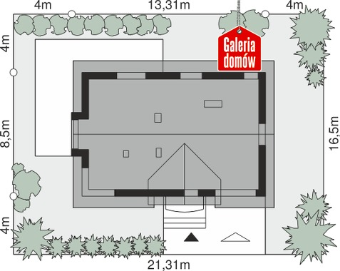 Dom przy Alabastrowej 46 - wymiary na działce
