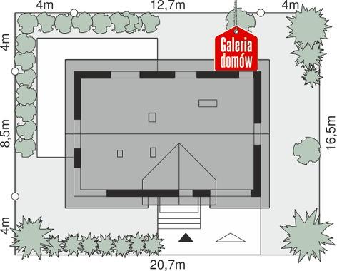 Dom przy Alabastrowej 47 - wymiary na działce