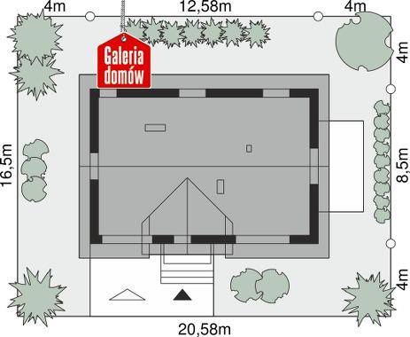 Dom przy Alabastrowej 49 - wymiary na działce