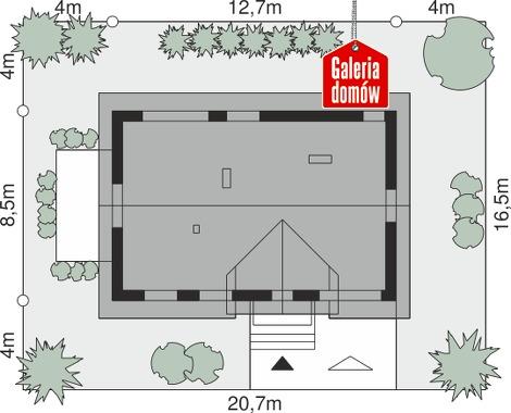 Dom przy Alabastrowej 50 - wymiary na działce