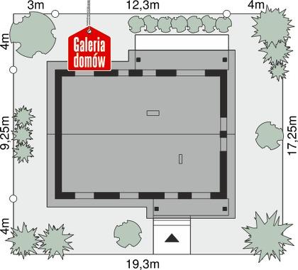 Dom przy Bukowej 21 - wymiary na działce