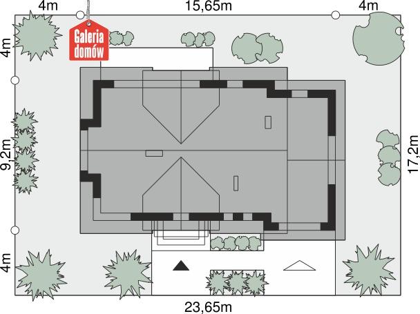 Dom przy Modrzewiowej 16 - wymiary na działce