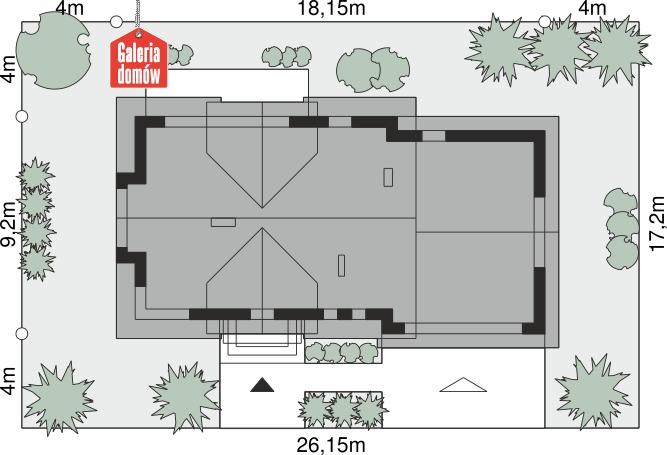 Dom przy Modrzewiowej 17 - wymiary na działce