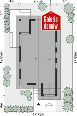 Dom przy Pastelowej 18 D bis - wymiary na działce