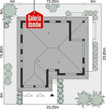 Dom przy Kwiatowej 2 bis - wymiary na działce