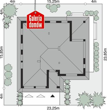 Dom przy Kwiatowej 3 bis - wymiary na działce