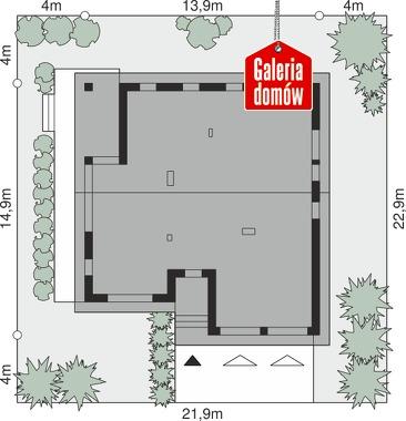 Dom przy Przyjemnej 22 bis - wymiary na działce