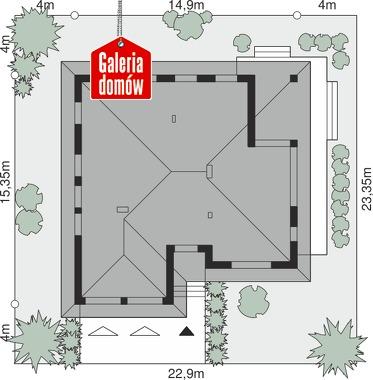Dom przy Kwiatowej 4 bis - wymiary na działce