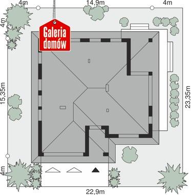 Dom przy Kwiatowej 5 bis - wymiary na działce