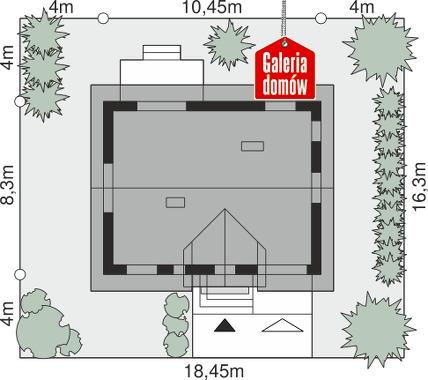 Dom przy Alabastrowej 54 - wymiary na działce
