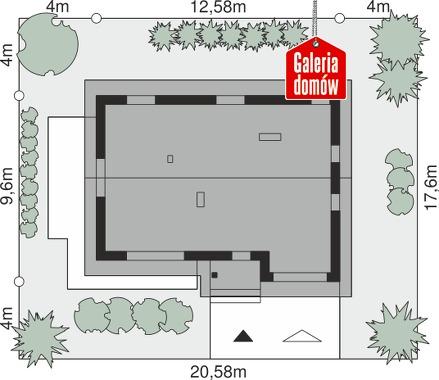Dom przy Alabastrowej 55 - wymiary na działce