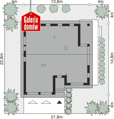 Dom przy Przyjemnej 25 bis - wymiary na działce