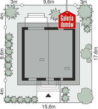 Dom przy Cyprysowej 57 - wymiary na działce
