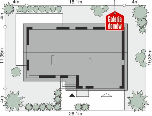 Dom przy Przyjemnej 26 bis - wymiary na działce