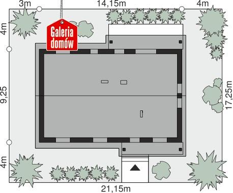 Dom przy Bukowej 26 - wymiary na działce