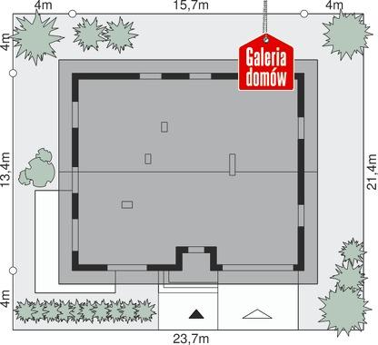 Dom przy Słonecznej 10 - wymiary na działce