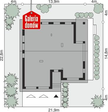 Dom przy Przyjemnej 29 bis - wymiary na działce