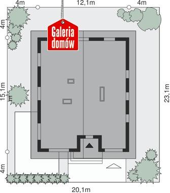 Dom przy Słonecznej 12 - wymiary na działce