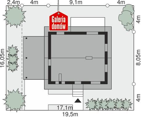 Dom przy Topolowej 4 - wymiary na działce