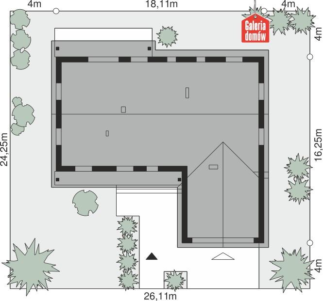 Dom przy Bukowej 32 - wymiary na działce
