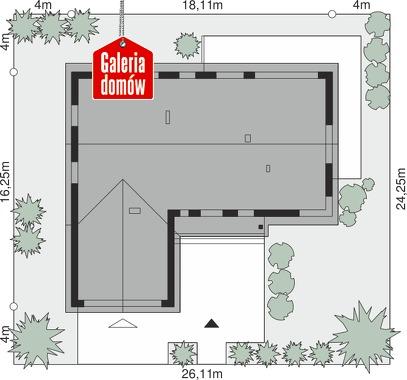 Dom przy Bukowej 33 - wymiary na działce