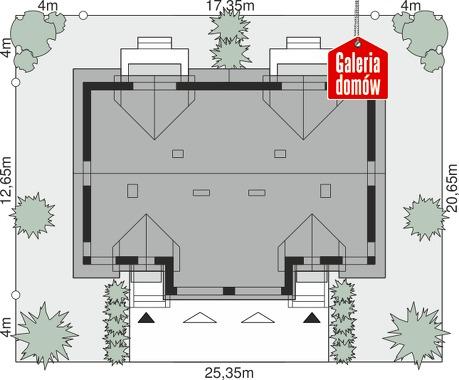 Dom przy Amarantowej 12 dwulokalowy - wymiary na działce