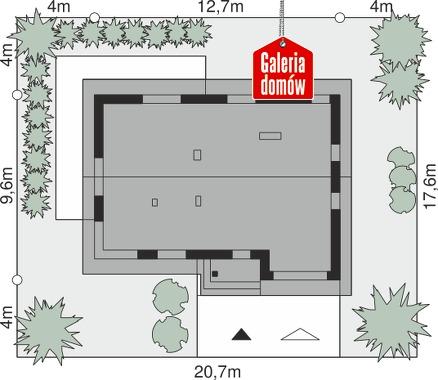 Dom przy Alabastrowej 57 - wymiary na działce