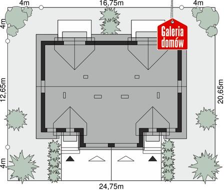 Dom przy Amarantowej 14 dwulokalowy - wymiary na działce