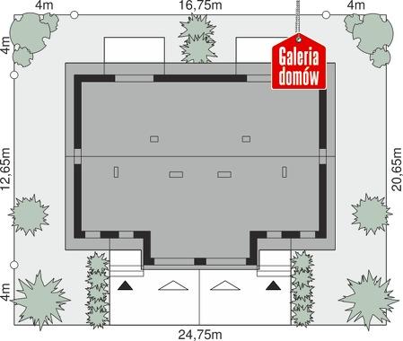 Dom przy Amarantowej 15 dwulokalowy - wymiary na działce