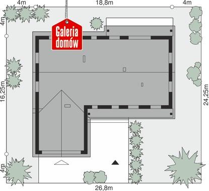 Dom przy Bukowej 34 - wymiary na działce